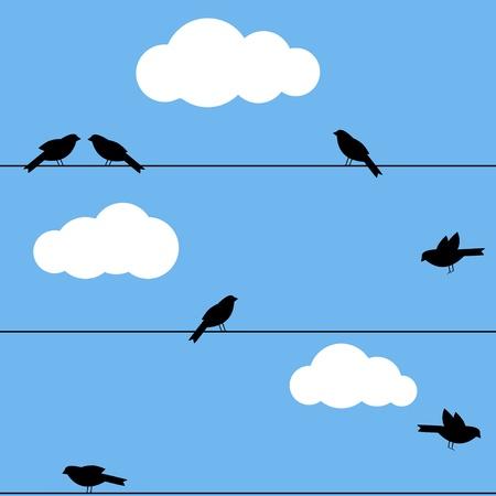 Schwarz Silhouette von Vögeln auf Drähte Standard-Bild - 10324506
