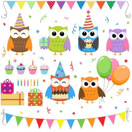 Conjunto de elementos de parte de cumpleaños de vector con lindos búhos