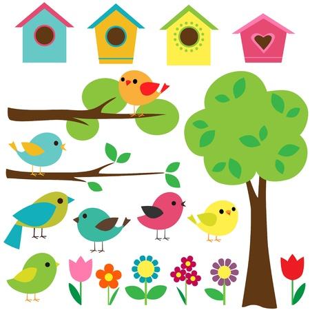 pajaro caricatura: Establecer las aves con birdhouses, árboles y flores. Vectores