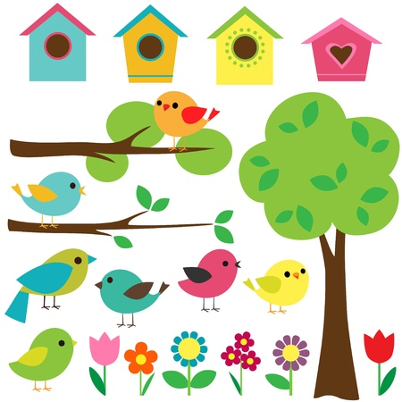 Set birds with birdhouses, trees and flowers. Vector