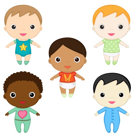 multicultural group: Six happy baby boys. Illustration