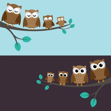owl cartoon: Family of owls sitting on a branch. Two variations.