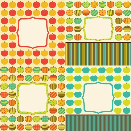 dates fruit: Set of four cards with retro apple pattern