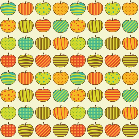 Seamless retro pattern with apples Vector