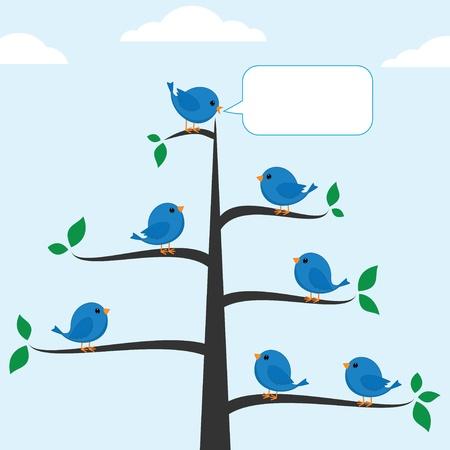 tweet: Cartoon blue bird talking to other