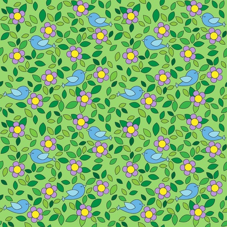 Little birds among flowers and leafs on green background. Vector