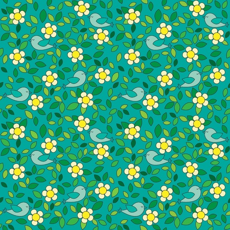 Little birds among flowers and leafs on dark green background.