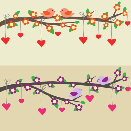 Cards with couples of birds sitting on branches. Vector