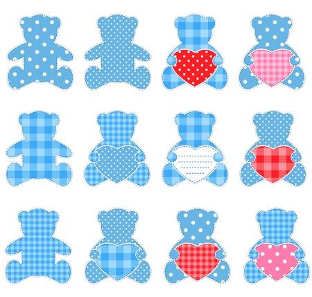 vintage teddy bears: Dodici azzurri orsacchiotti con i cuori. Elementi di Nizza per scrapbooking, biglietti augurali, bigliettini ecc