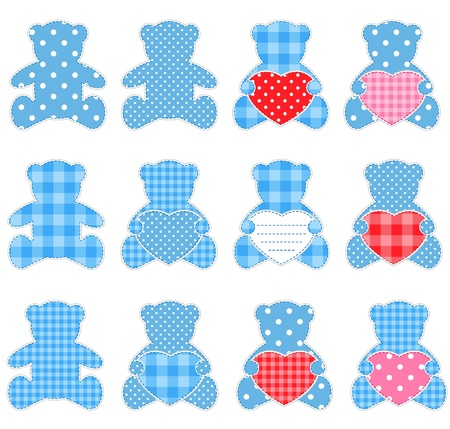 Twelve blue teddy bears with hearts. Nice elements for scrapbooking, greeting cards, Valentines cards etc. Vector