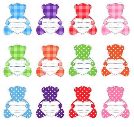 Twelve multicolor teddy bears.They have lines on hearts, so you can whrite your text. Nice elements for scrapbook, greeting card, Valentines card etc. Vector