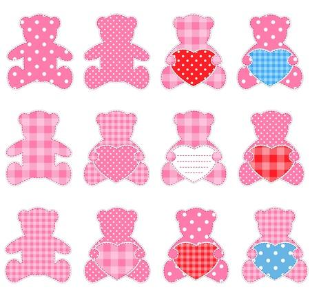 osos de peluche: Doce Rosa ositos con corazones. Niza elementos para scrapbooking, tarjetas de felicitaci�n, tarjetas de San Valent�n etc..