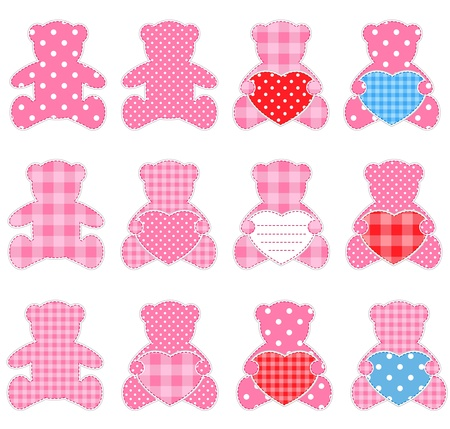 Twelve pink teddy bears with hearts. Nice elements for scrapbooking, greeting cards, Valentines cards etc. Vector
