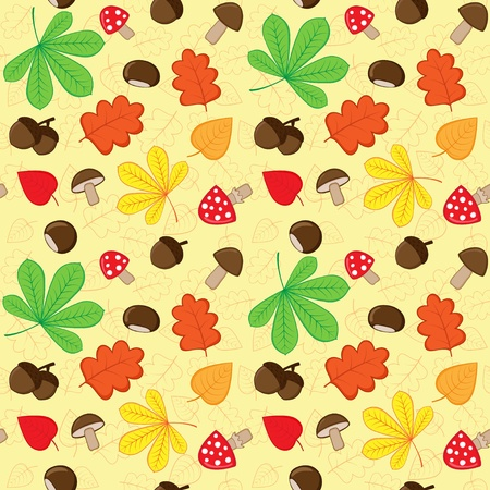 fungi: Autumn seamless pattern with nature elements