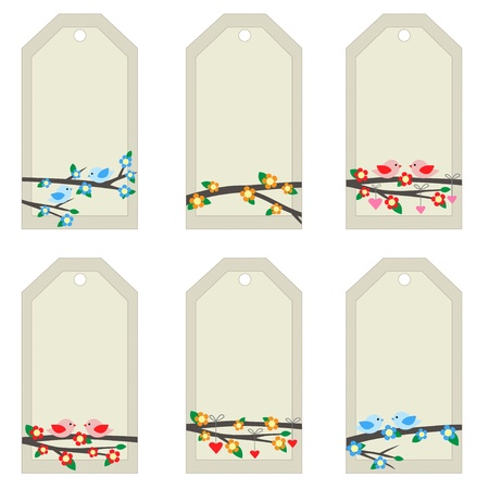 Set of light tags with birds on branches. Vector