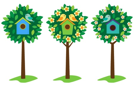 nestling birds: Little birds and birdhouses on trees. Illustration