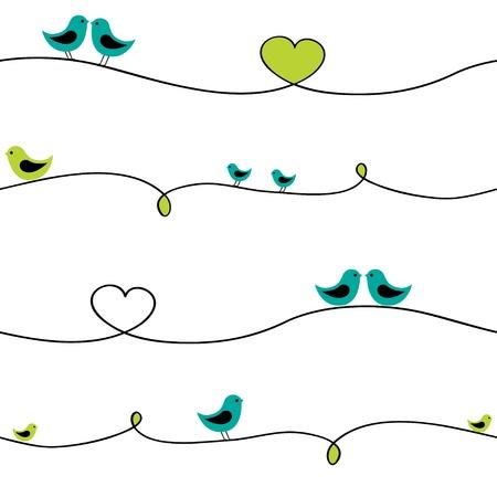pajaro caricatura: Aves sentado en alambre de curva. Patr�n transparente. Vectores