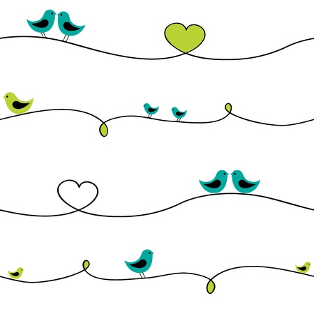 cartoon bird: Birds sitting on curve wire. Seamless pattern.