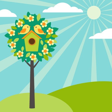 Little birds and birdhouses on trees. Vintage version. Vector
