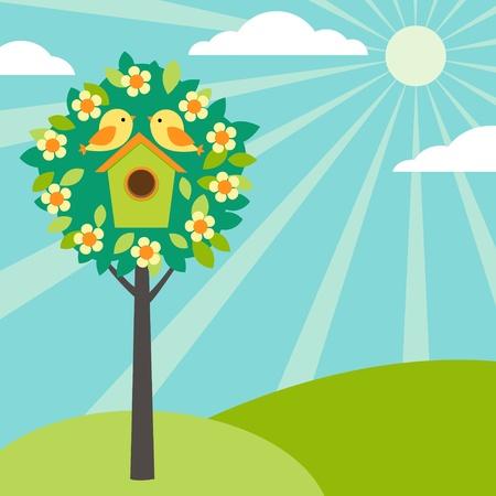 ¡rboles con pajaros: Poco de aves y birdhouses en los árboles. Versión vintage.
