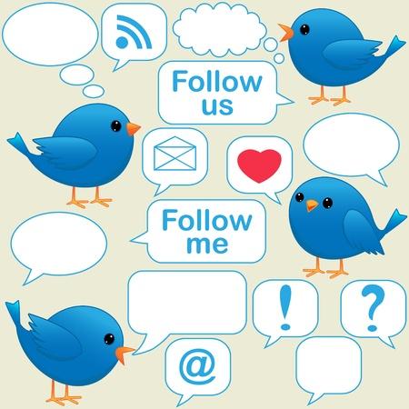 Cartoon blue bird talking Stock Vector - 10329547