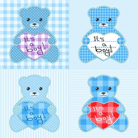Set of four cards with blue teddy bears for boy. Vector