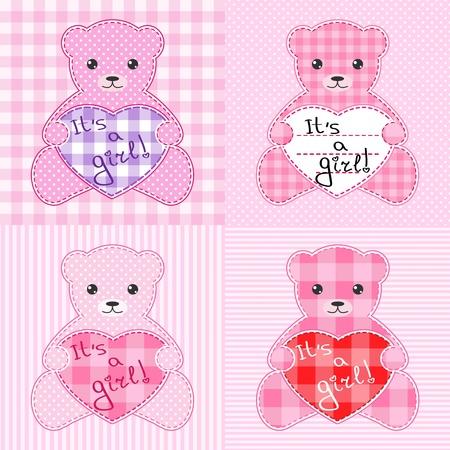 manta de retalhos: Set of four cards with pink teddy bears for girl.
