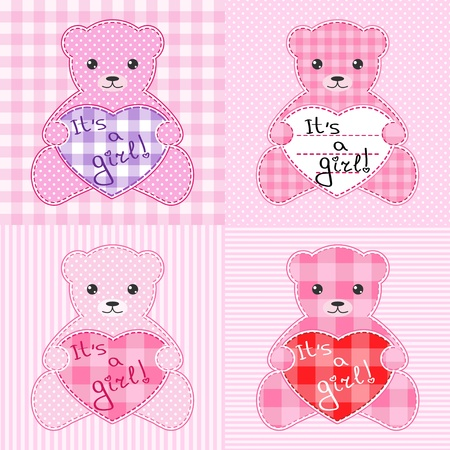 Set of four cards with pink teddy bears for girl. Vector