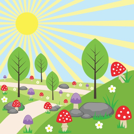 sunlit: Cartoon bright landscape Illustration