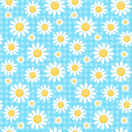 Camomiles on blue chequered background Vector