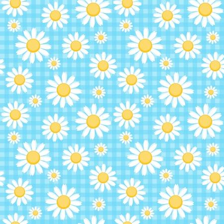 Camomiles op blauwe geruite achtergrond Vector Illustratie