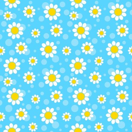 青い背景に白い花。シームレスなパターン。