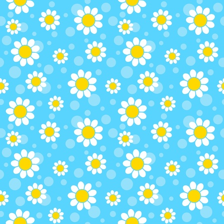 daisy flower: White flowers on blue background. Seamless pattern.