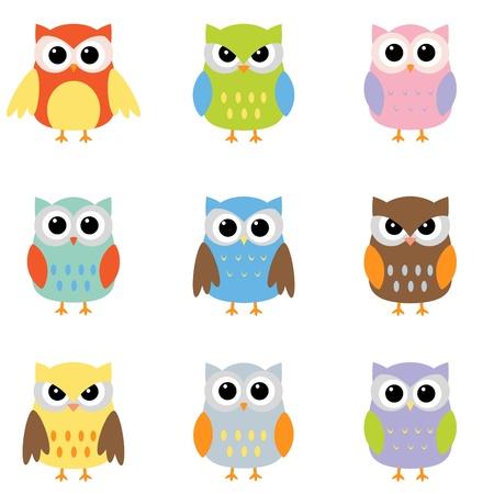 Búhos con nueve combinaciones de color Ilustración de vector