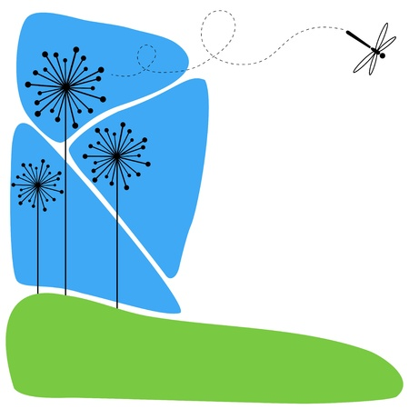 Background with three flowers and flying dragonfly. Vector