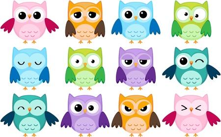 aves caricatura: Conjunto de 12 búhos de dibujos animados con emociones varias