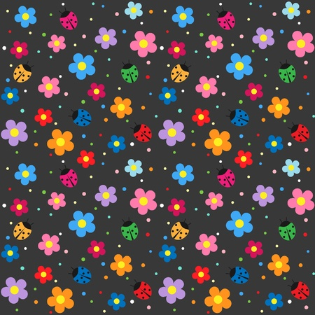 Ladybugs and flowers with dark background Vector