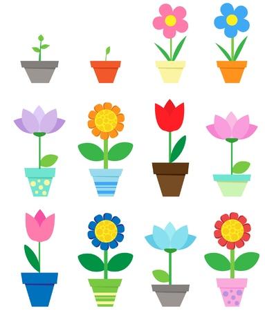 flower clip art: Flowers in pots - clip art