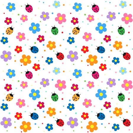 daisy pink: Flowers and ladybugs seamless background Illustration
