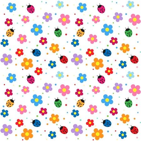 Sfondo senza soluzione di continuità, fiori e Coccinelle