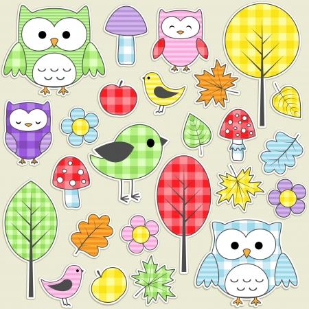 manta de retalhos: Set of autumnal textile stickers.