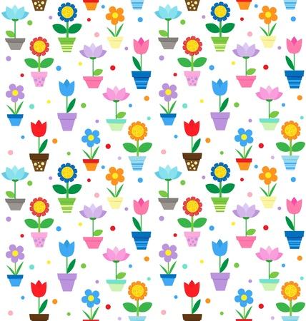 Flowers in pots - seamless pattern