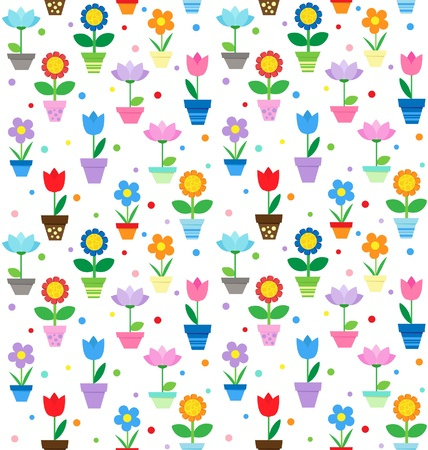 pot decoration: Flowers in pots - seamless pattern
