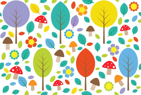 Forest background with colorful trees, leafs, mushrooms and flowers. Seamless pattern. Vector