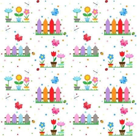 flowerpot: Flowers in pots in the garden - seamless background