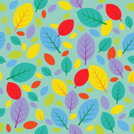 Seamless autumn pattern with color leafs Vector