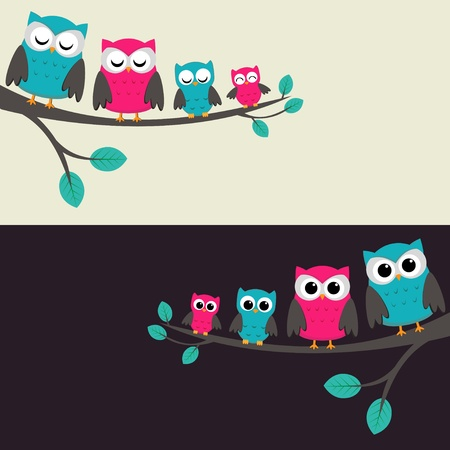 lady bird: Family of owls sitting on a branch. Two variations.