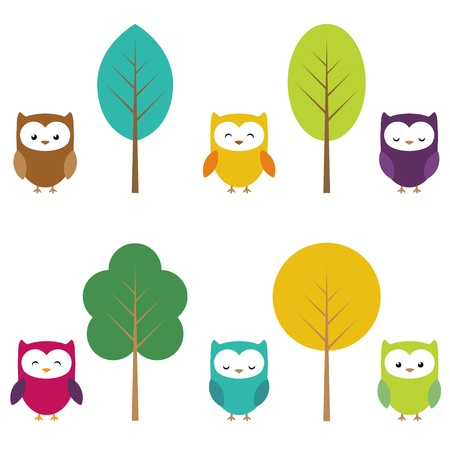 Owls in six color combinations and four color tree Illustration