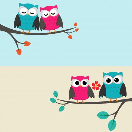 Two cards with couples of owls sitting on branches. Vector