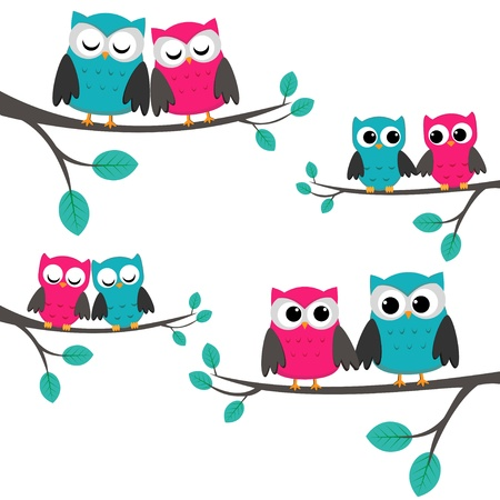 Four couples of owls sitting on branches.